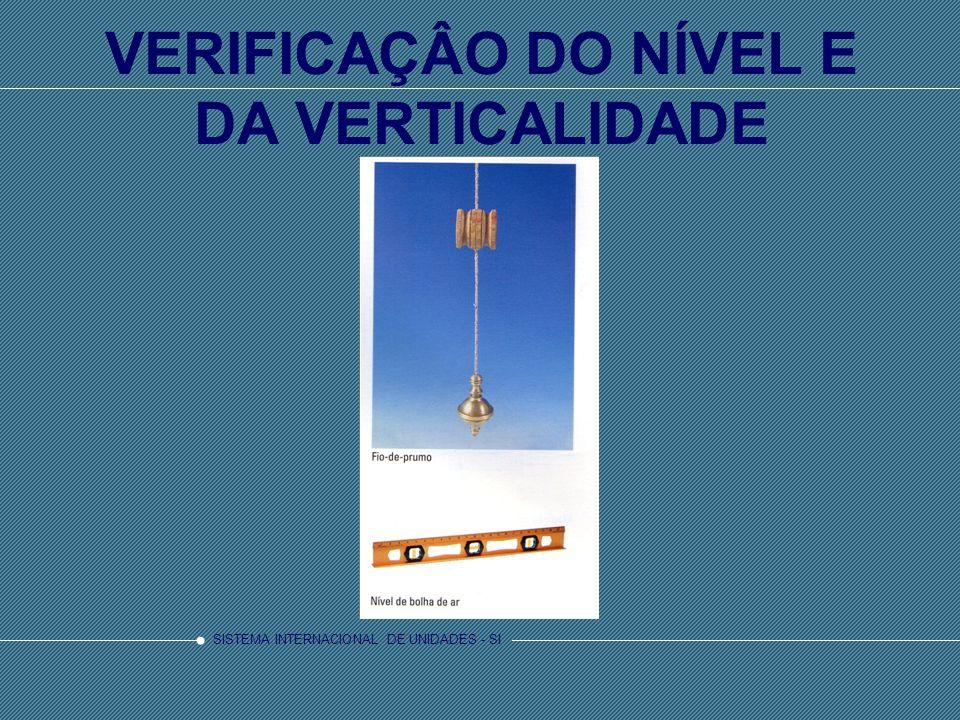 VERIFICAÇÂO DO NÍVEL E DA VERTICALIDADE