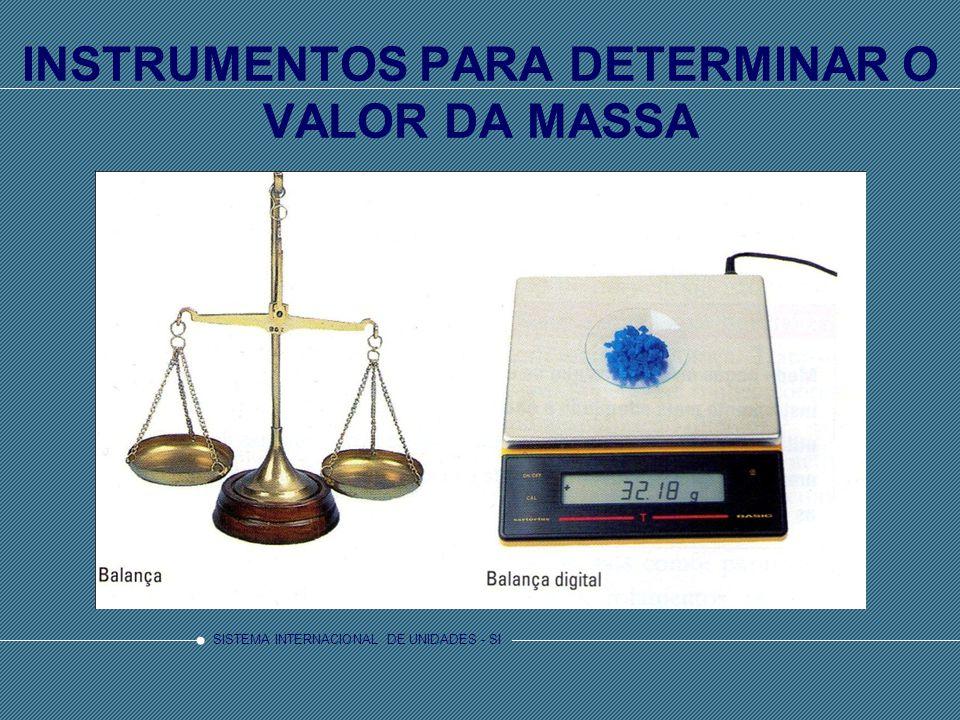 INSTRUMENTOS PARA DETERMINAR O VALOR DA MASSA