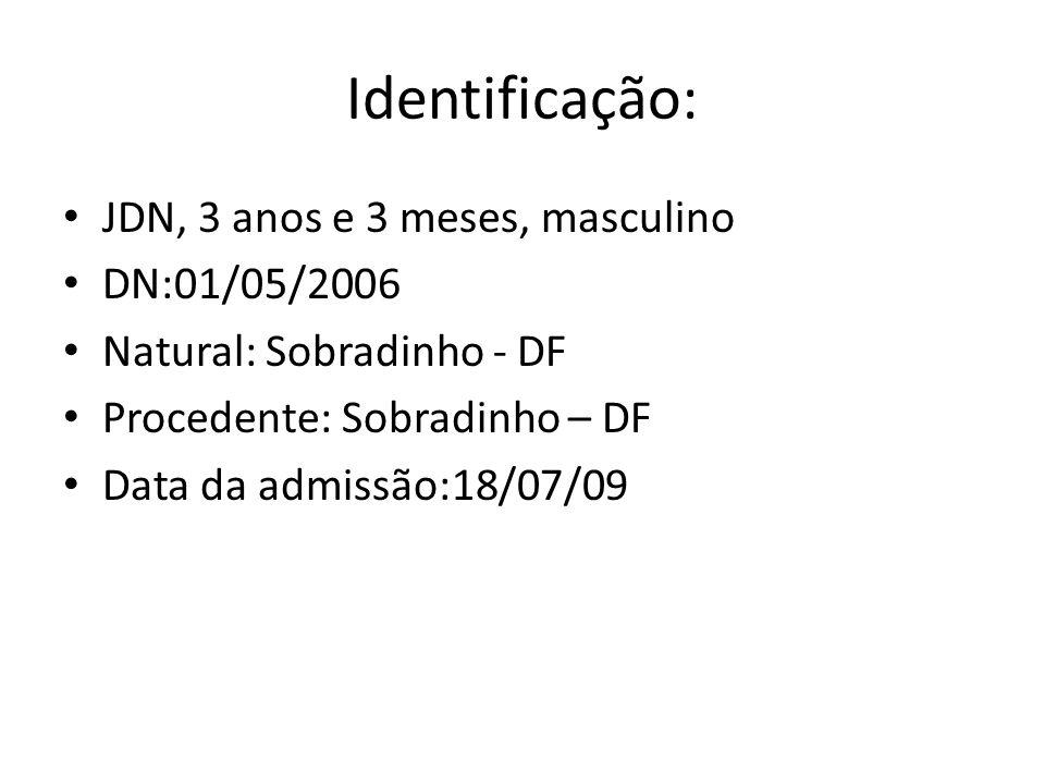 Identificação: JDN, 3 anos e 3 meses, masculino DN:01/05/2006