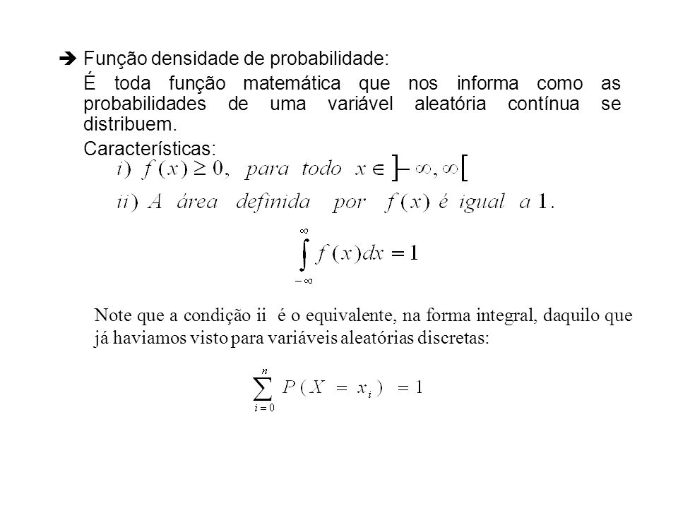 Função densidade de probabilidade: