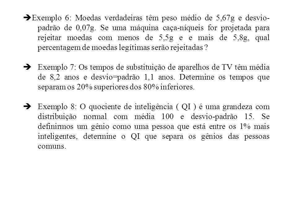Exemplo 6: Moedas verdadeiras têm peso médio de 5,67g e desvio-padrão de 0,07g. Se uma máquina caça-níqueis for projetada para rejeitar moedas com menos de 5,5g e e mais de 5,8g, qual percentagem de moedas legítimas serão rejeitadas