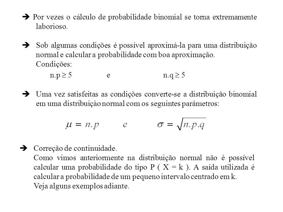  Por vezes o cálculo de probabilidade binomial se torna extremamente laborioso.