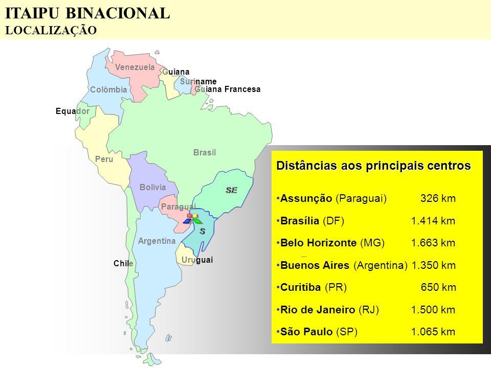 ITAIPU BINACIONAL LOCALIZAÇÃO Distâncias aos principais centros
