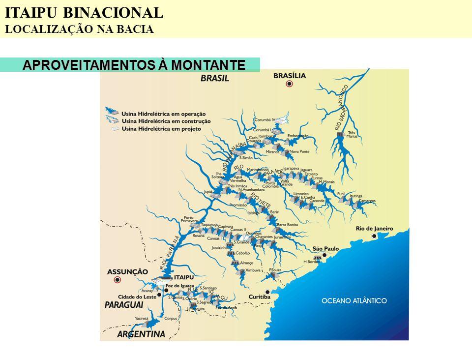 ITAIPU BINACIONAL LOCALIZAÇÃO NA BACIA APROVEITAMENTOS À MONTANTE