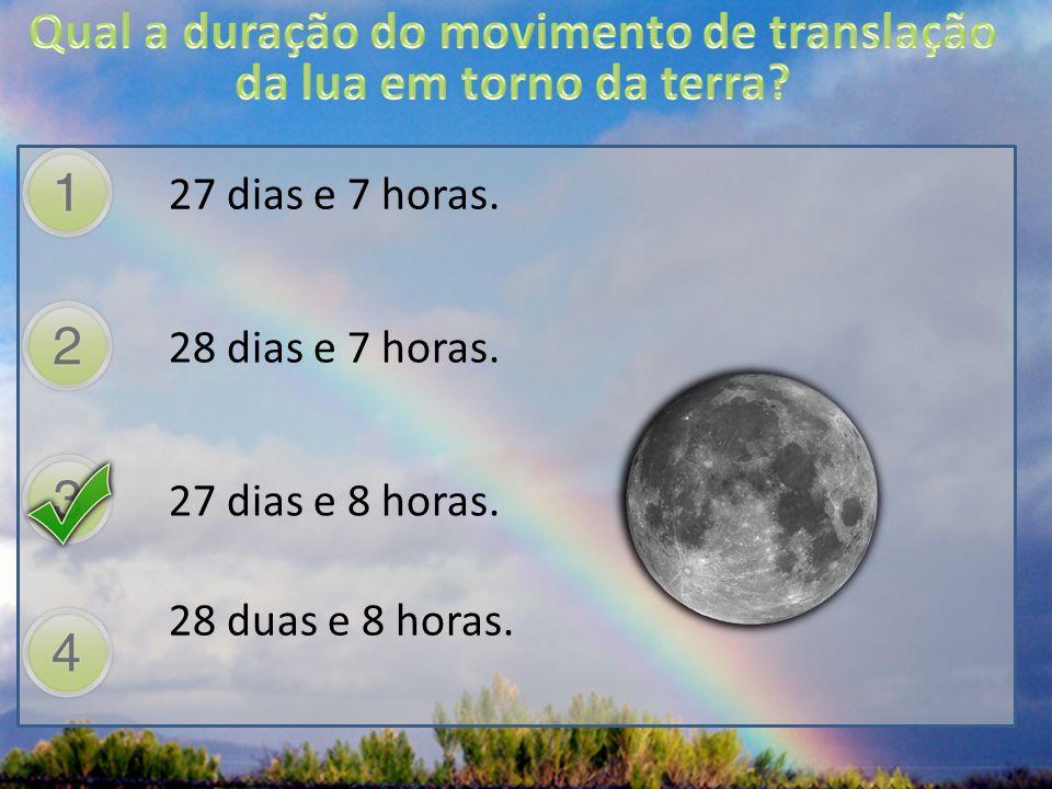 Qual a duração do movimento de translação da lua em torno da terra