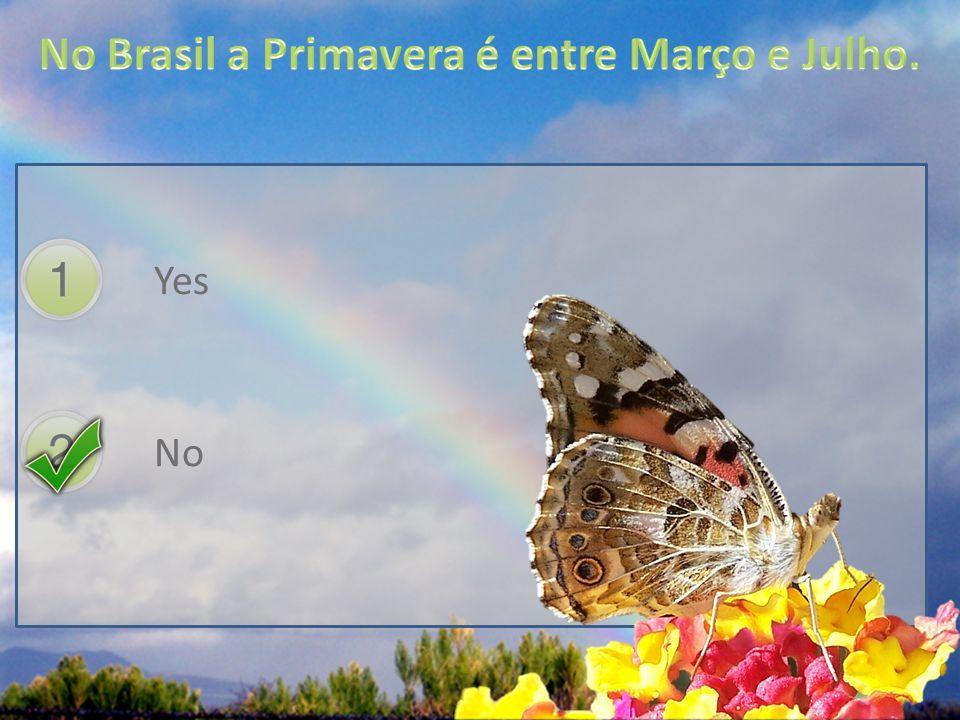 No Brasil a Primavera é entre Março e Julho.