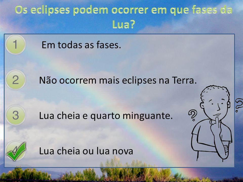 Os eclipses podem ocorrer em que fases da Lua