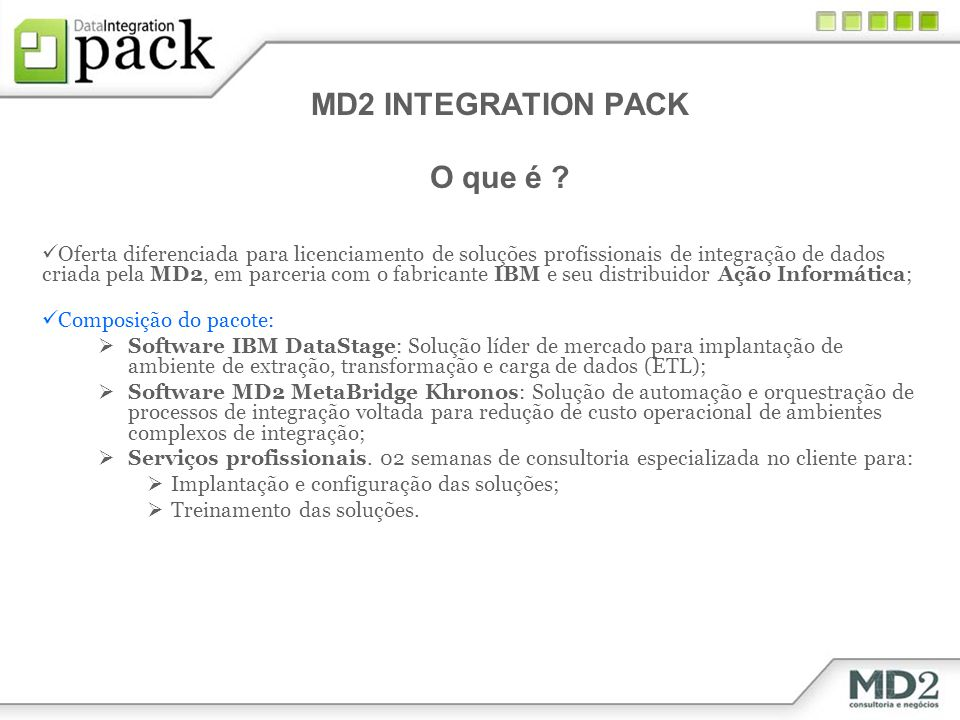 MD2 INTEGRATION PACK O que é
