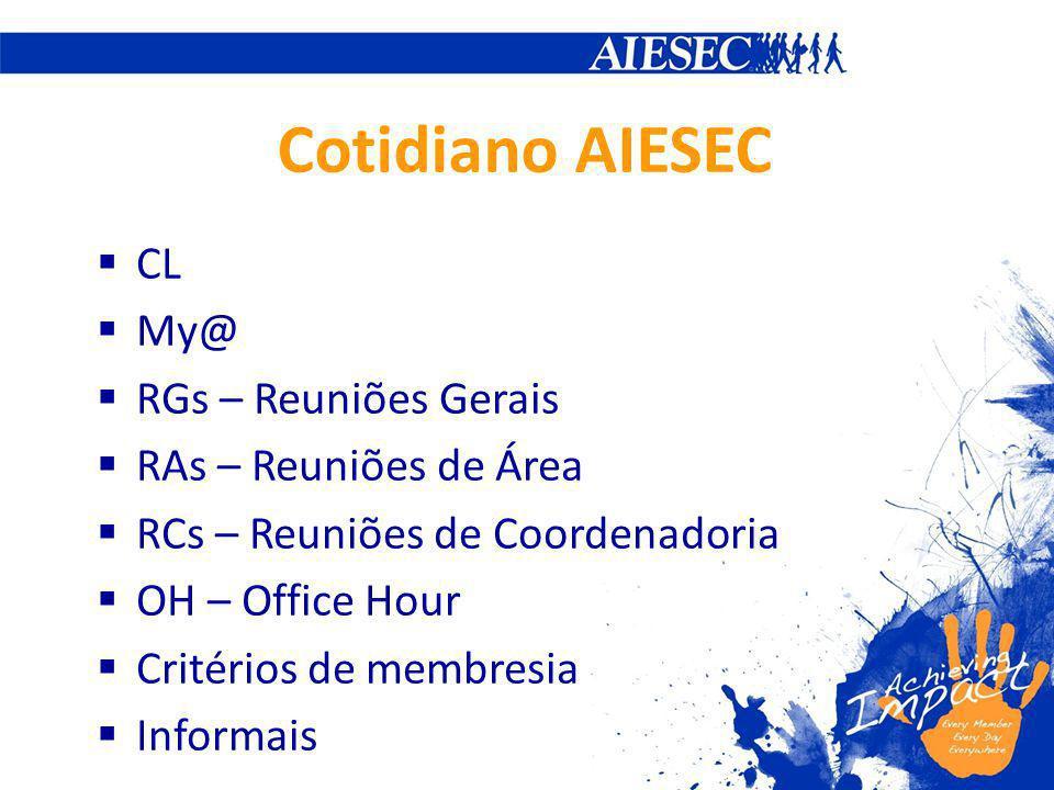 Cotidiano AIESEC CL My@ RGs – Reuniões Gerais RAs – Reuniões de Área