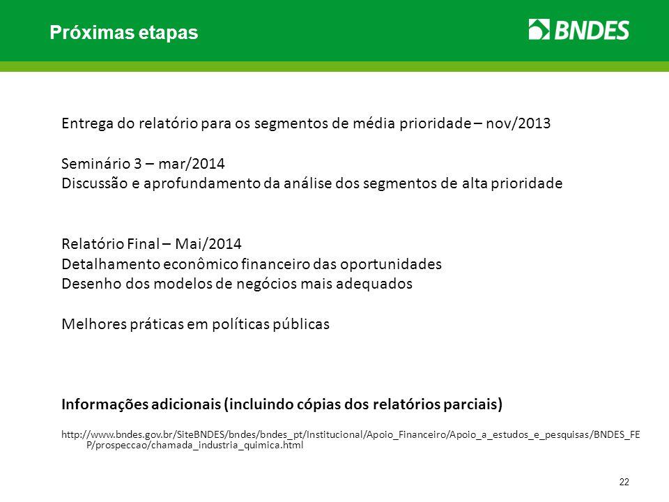 Próximas etapas Entrega do relatório para os segmentos de média prioridade – nov/2013. Seminário 3 – mar/2014.