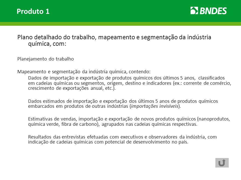 Produto 1 Plano detalhado do trabalho, mapeamento e segmentação da indústria química, com: Planejamento do trabalho.