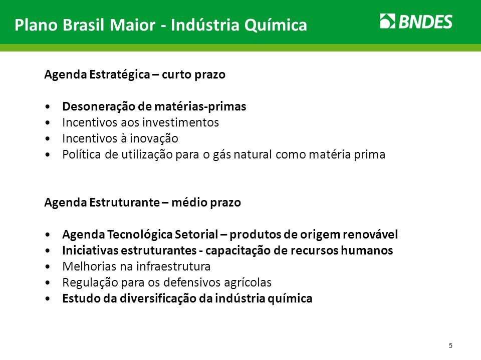 Plano Brasil Maior - Indústria Química