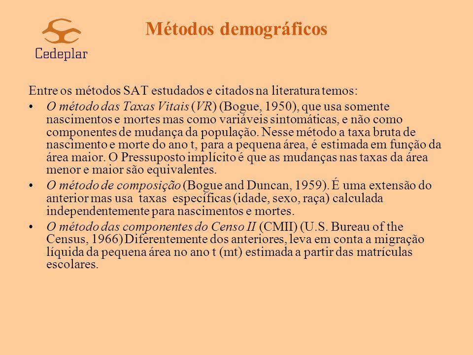 Métodos demográficos Entre os métodos SAT estudados e citados na literatura temos: