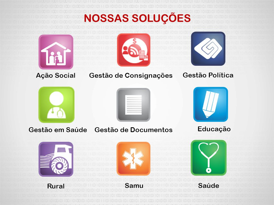 NOSSAS SOLUÇÕES Ação Social Gestão de Consignações Gestão Política