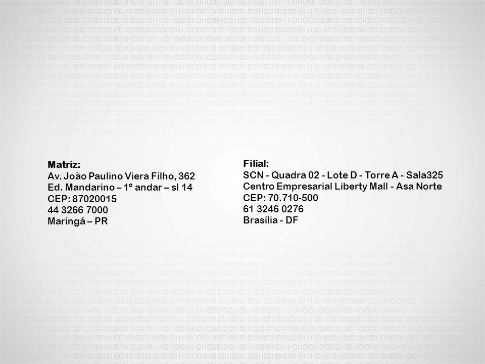 Matriz: Av. João Paulino Viera Filho, 362. Ed. Mandarino – 1º andar – sl 14. CEP: 87020015. 44 3266 7000.