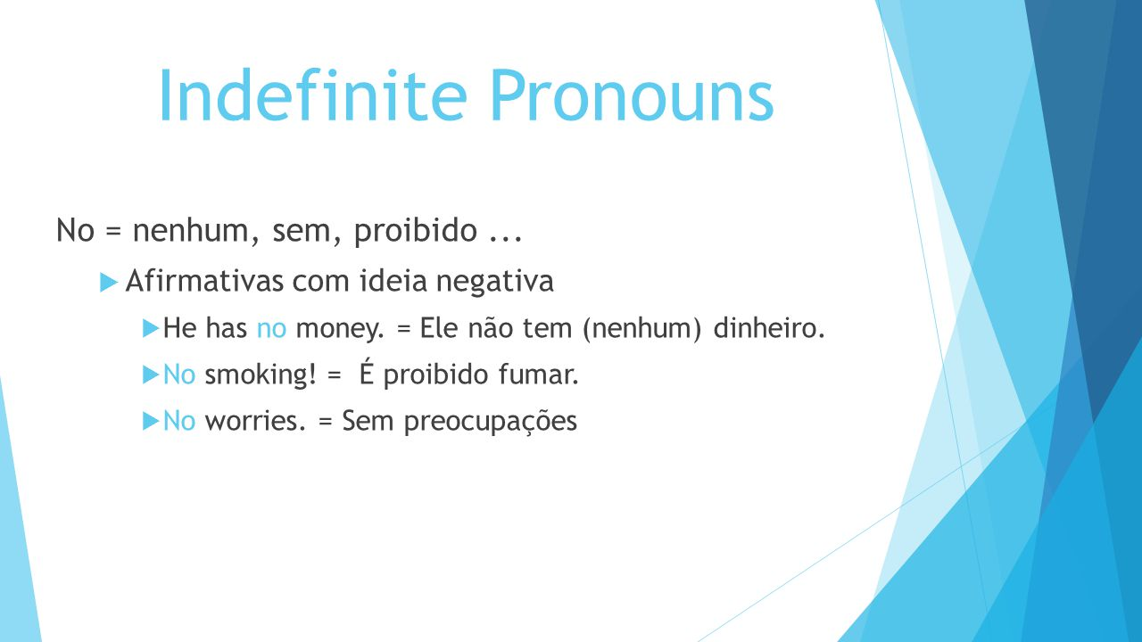 Indefinite Pronouns No = nenhum, sem, proibido ...