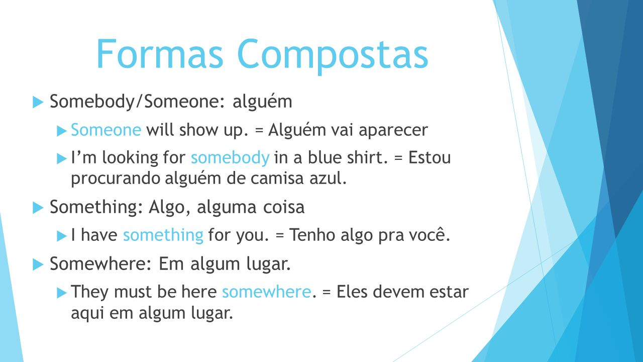Formas Compostas Somebody/Someone: alguém