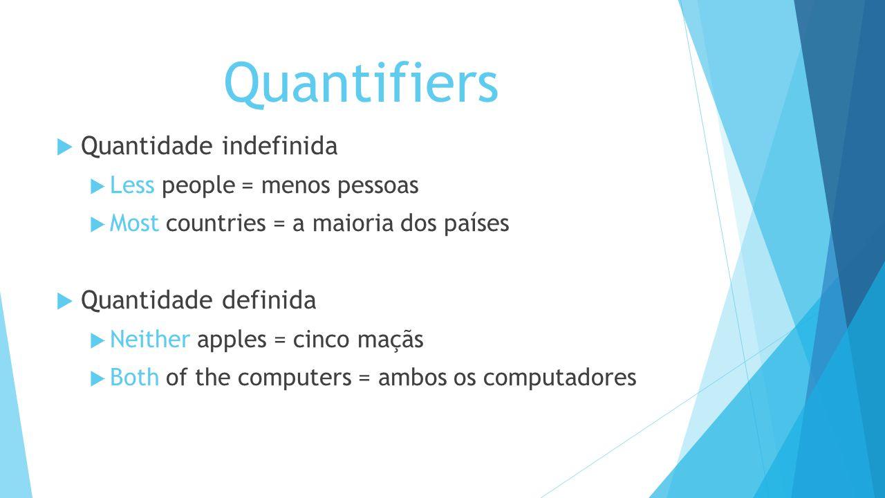 Quantifiers Quantidade indefinida Quantidade definida