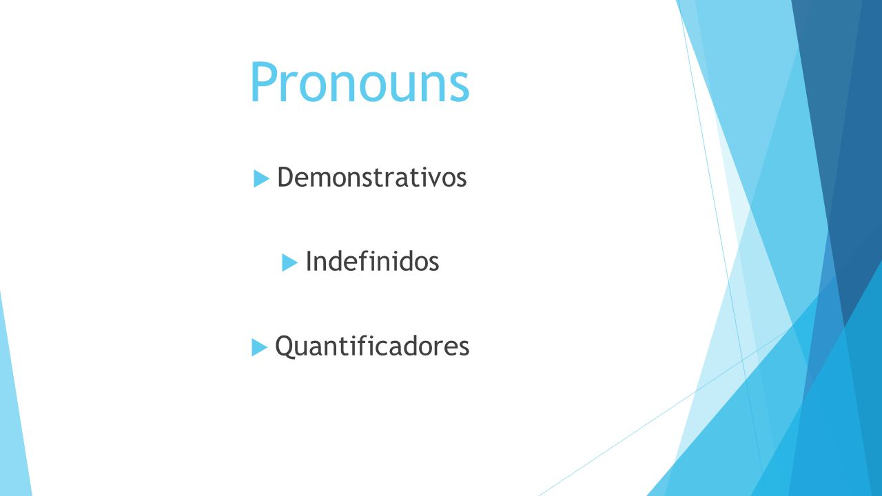 Pronouns Demonstrativos Indefinidos Quantificadores