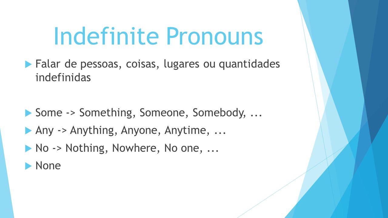 Indefinite Pronouns Falar de pessoas, coisas, lugares ou quantidades indefinidas. Some -> Something, Someone, Somebody, ...