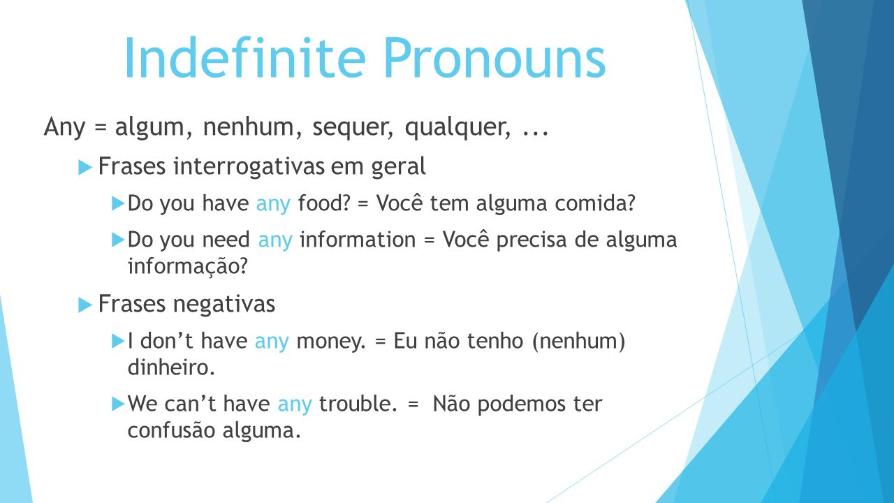 Indefinite Pronouns Any = algum, nenhum, sequer, qualquer, ...