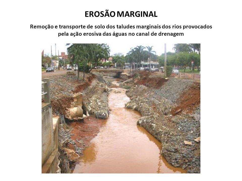 EROSÃO MARGINAL Remoção e transporte de solo dos taludes marginais dos rios provocados pela ação erosiva das águas no canal de drenagem.