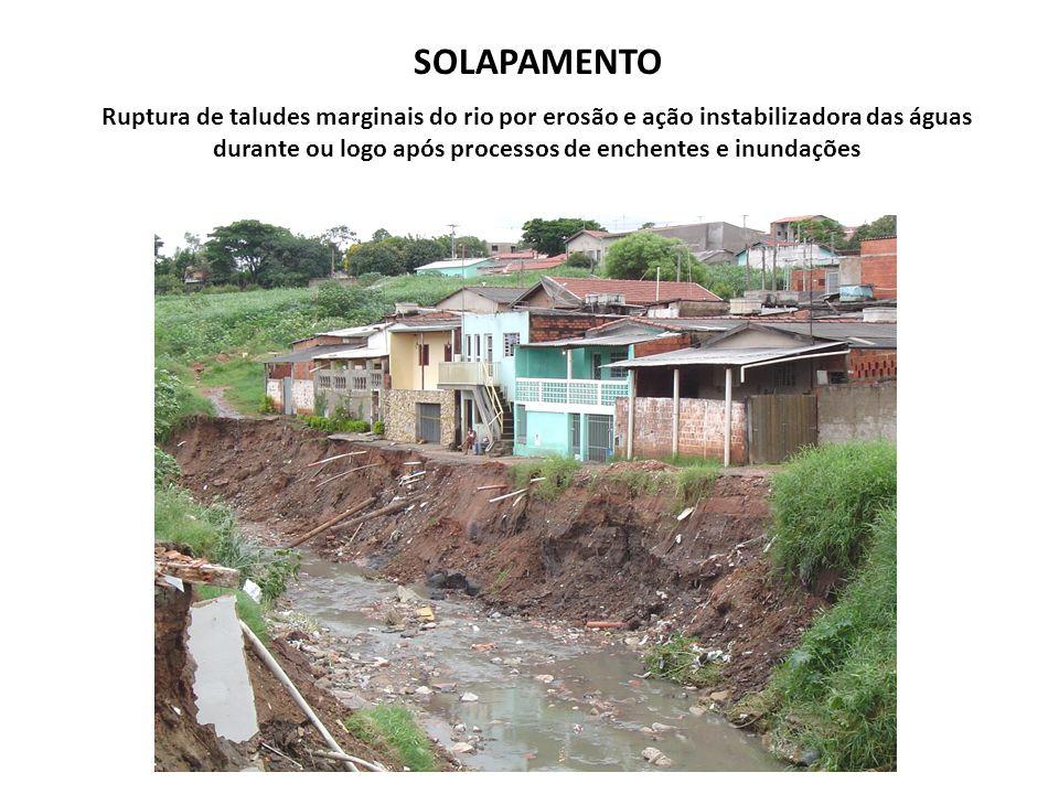 SOLAPAMENTO Ruptura de taludes marginais do rio por erosão e ação instabilizadora das águas durante ou logo após processos de enchentes e inundações.