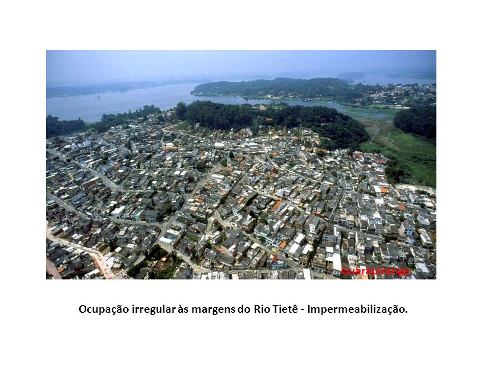 Ocupação irregular às margens do Rio Tietê - Impermeabilização.