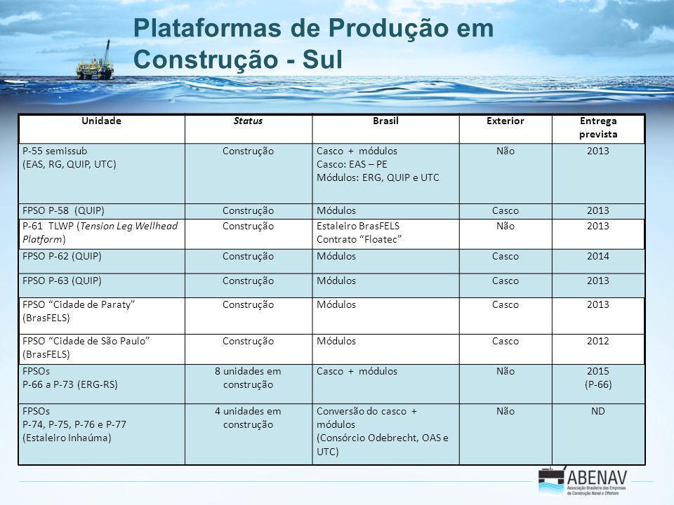 Plataformas de Produção em Construção - Sul