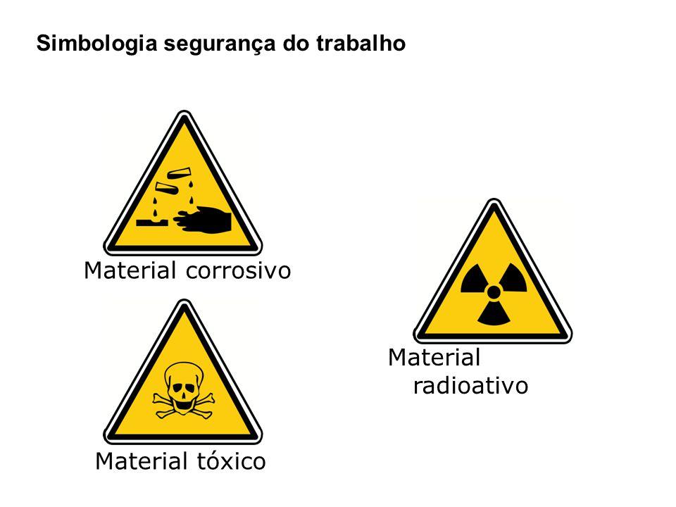 Material corrosivo Material radioativo Material tóxico