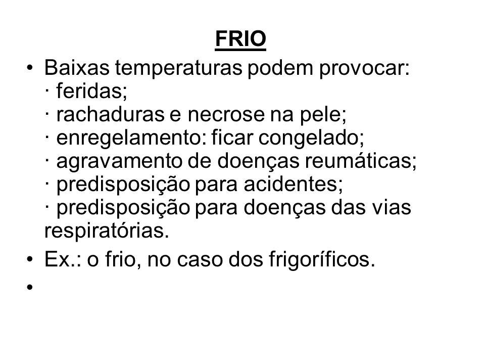 Ex.: o frio, no caso dos frigoríficos.