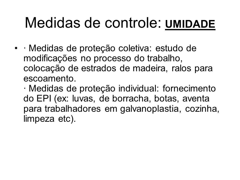 Medidas de controle: UMIDADE