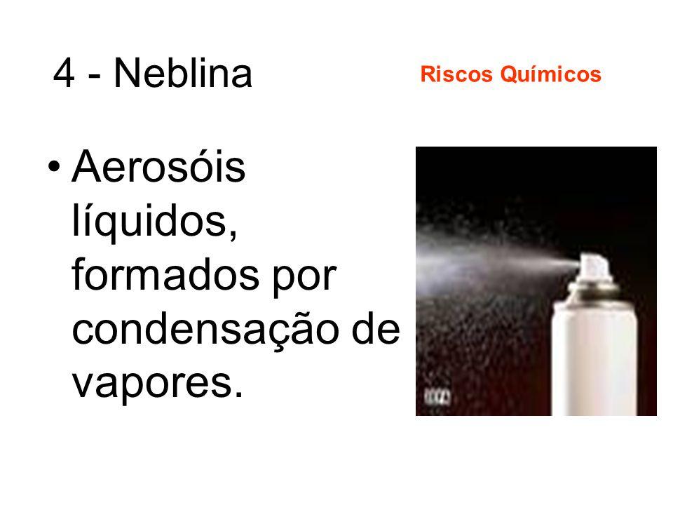Aerosóis líquidos, formados por condensação de vapores.