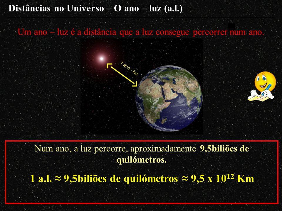 1 a.l. ≈ 9,5biliões de quilómetros ≈ 9,5 x 1012 Km