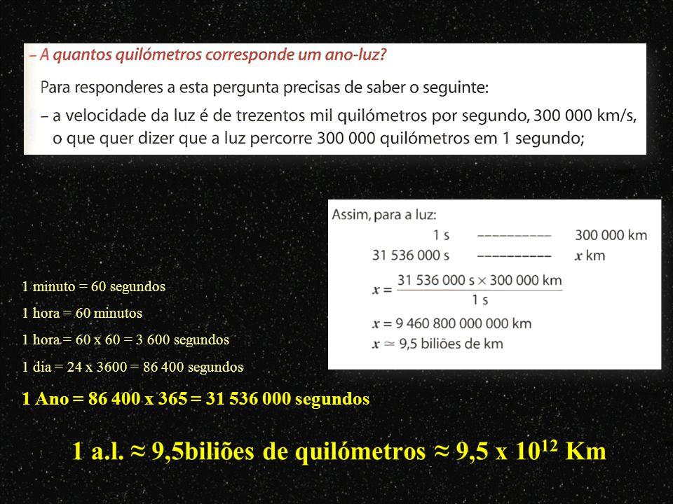 1 Ano = 86 400 x 365 = 31 536 000 segundos 1 minuto = 60 segundos