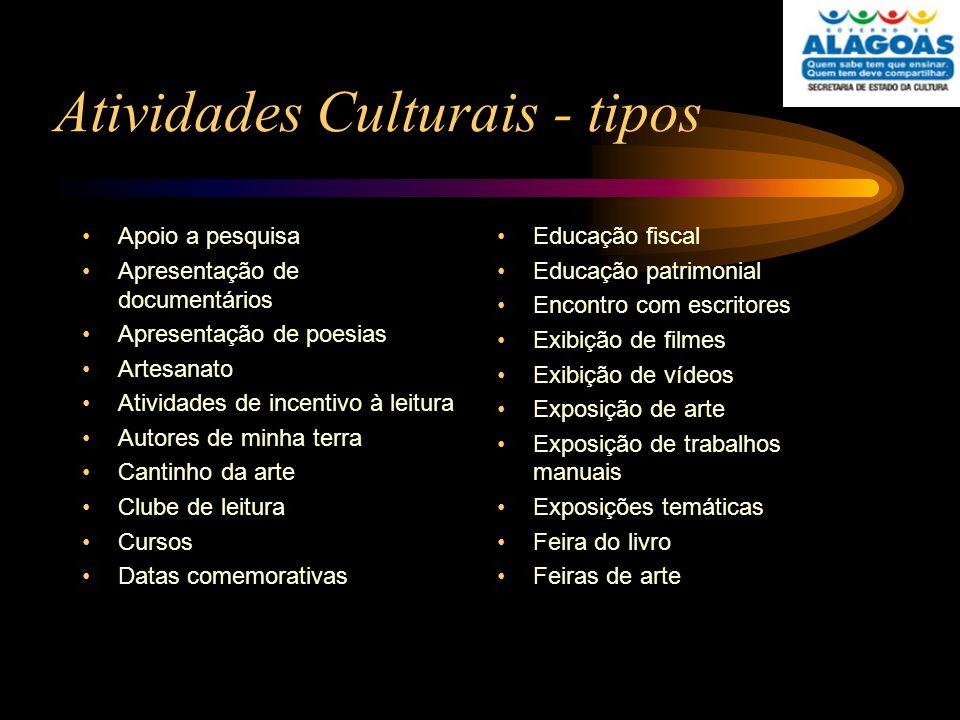 Atividades Culturais - tipos