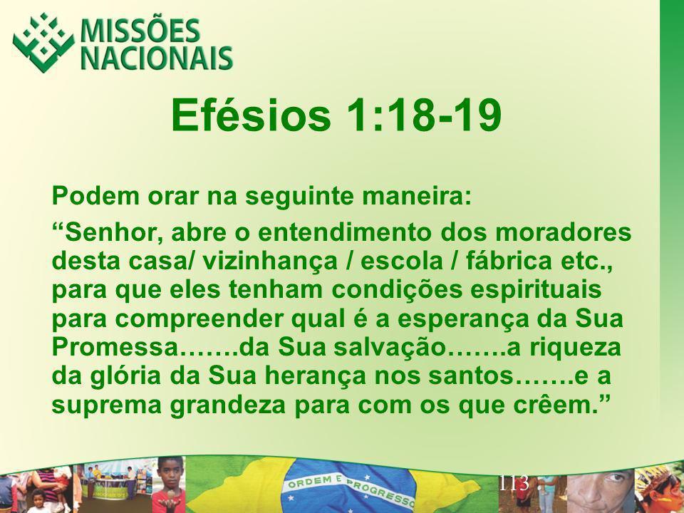Efésios 1:18-19 Podem orar na seguinte maneira: