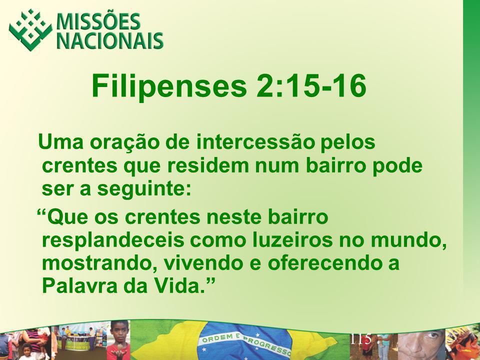 Filipenses 2:15-16 Uma oração de intercessão pelos crentes que residem num bairro pode ser a seguinte: