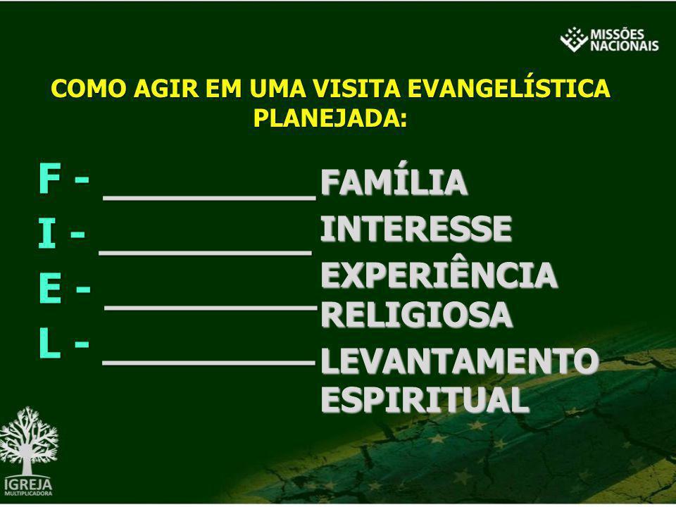 COMO AGIR EM UMA VISITA EVANGELÍSTICA PLANEJADA: