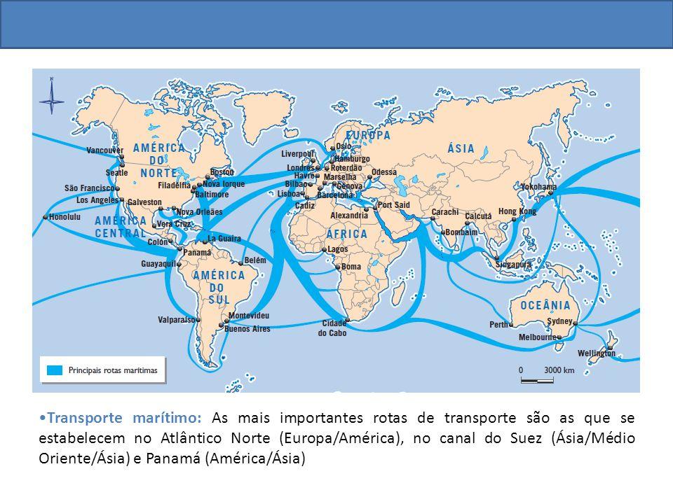 Transporte marítimo: As mais importantes rotas de transporte são as que se estabelecem no Atlântico Norte (Europa/América), no canal do Suez (Ásia/Médio Oriente/Ásia) e Panamá (América/Ásia)
