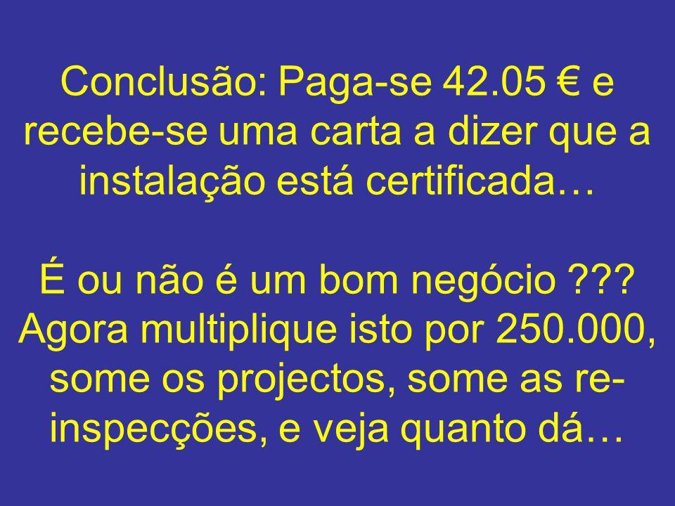 Conclusão: Paga-se 42.05 € e recebe-se uma carta a dizer que a instalação está certificada… É ou não é um bom negócio .