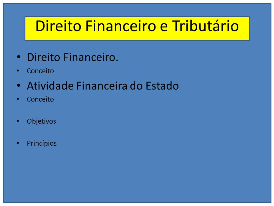 Direito Financeiro e Tributário