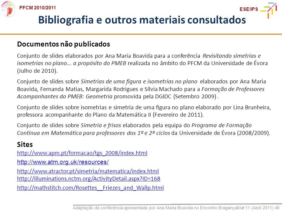 Bibliografia e outros materiais consultados