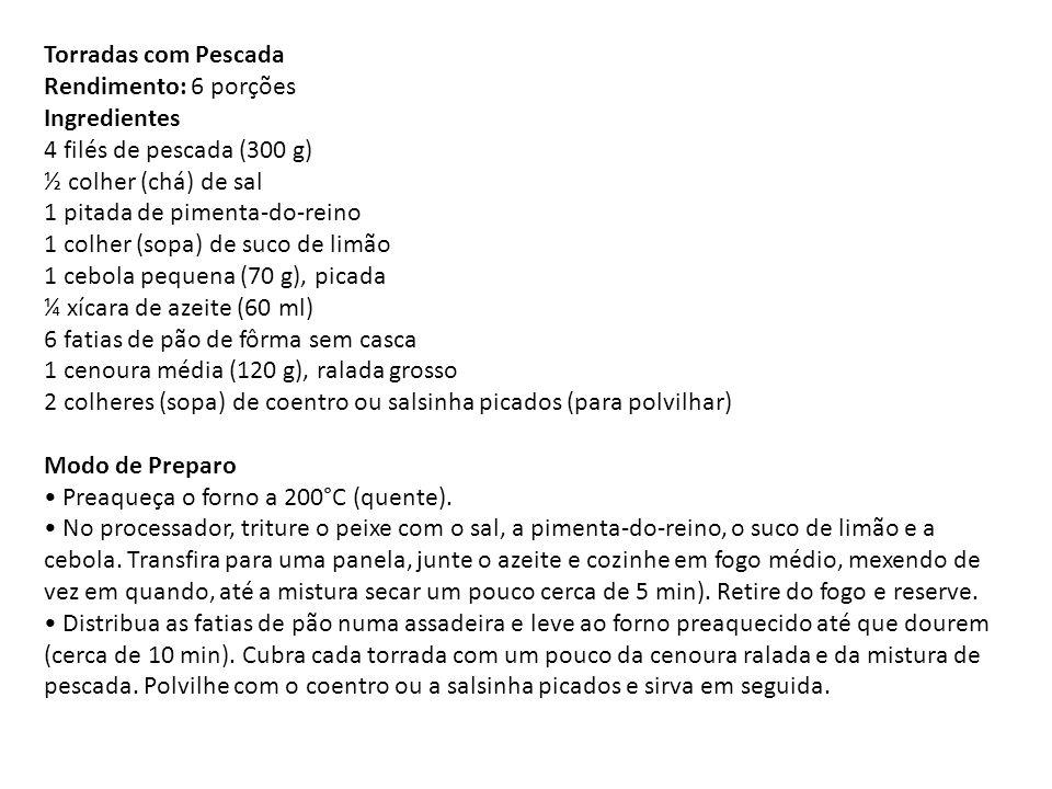 Torradas com Pescada Rendimento: 6 porções Ingredientes 4 filés de pescada (300 g) ½ colher (chá) de sal 1 pitada de pimenta-do-reino 1 colher (sopa) de suco de limão 1 cebola pequena (70 g), picada ¼ xícara de azeite (60 ml) 6 fatias de pão de fôrma sem casca 1 cenoura média (120 g), ralada grosso 2 colheres (sopa) de coentro ou salsinha picados (para polvilhar) Modo de Preparo • Preaqueça o forno a 200°C (quente).