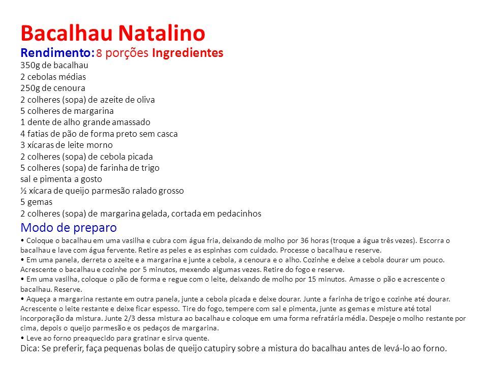 Bacalhau Natalino Rendimento: 8 porções Ingredientes