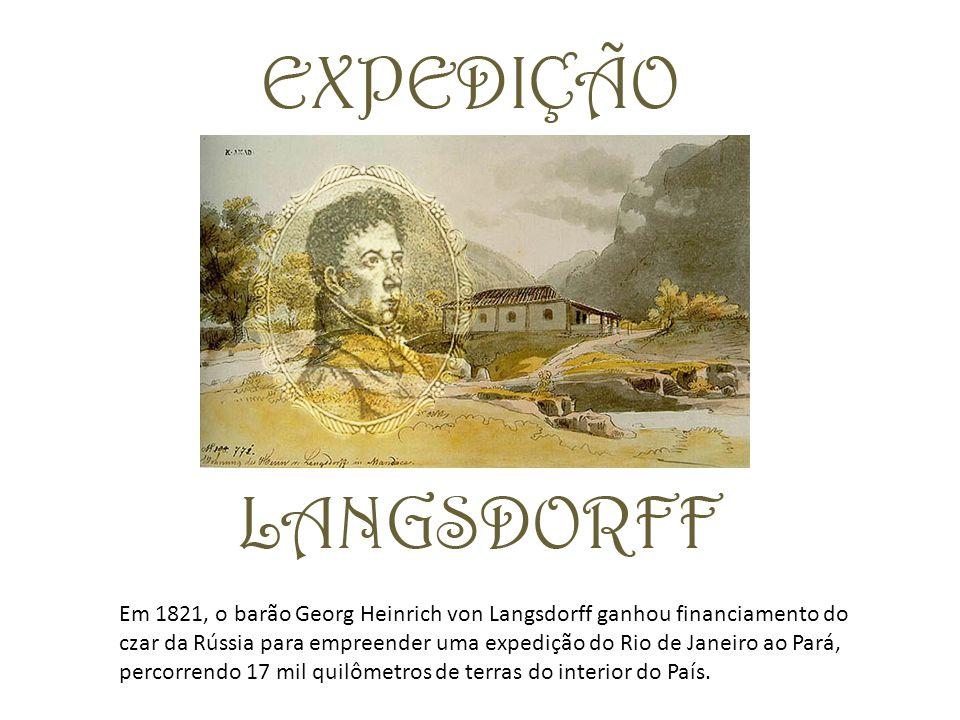 Em 1821, o barão Georg Heinrich von Langsdorff ganhou financiamento do czar da Rússia para empreender uma expedição do Rio de Janeiro ao Pará, percorrendo 17 mil quilômetros de terras do interior do País.
