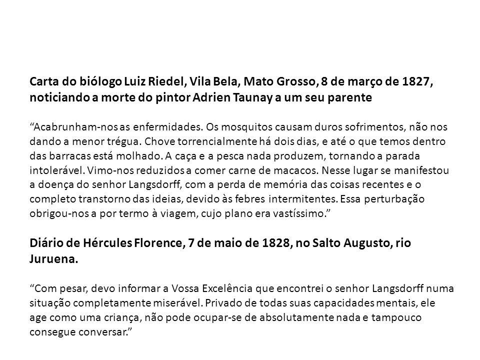Carta do biólogo Luiz Riedel, Vila Bela, Mato Grosso, 8 de março de 1827, noticiando a morte do pintor Adrien Taunay a um seu parente
