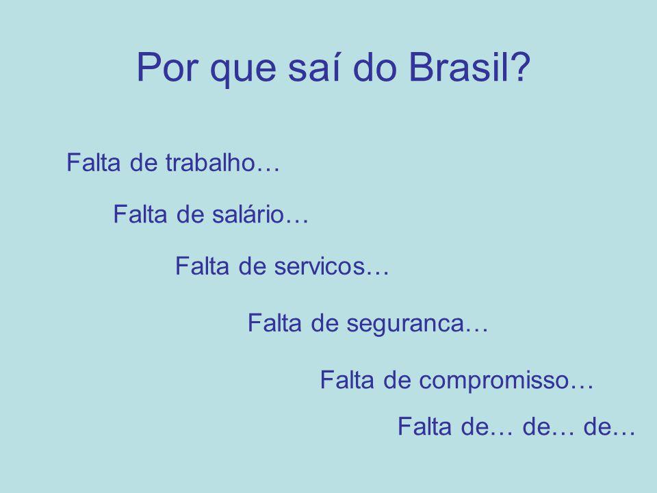 Por que saí do Brasil Falta de trabalho… Falta de salário…