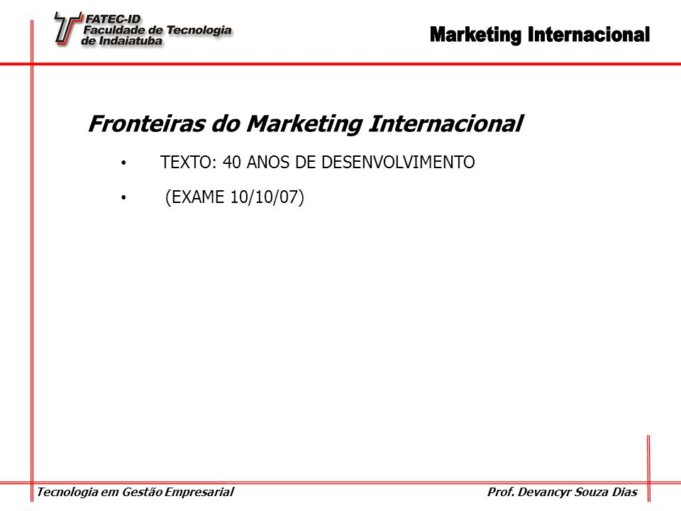 Fronteiras do Marketing Internacional