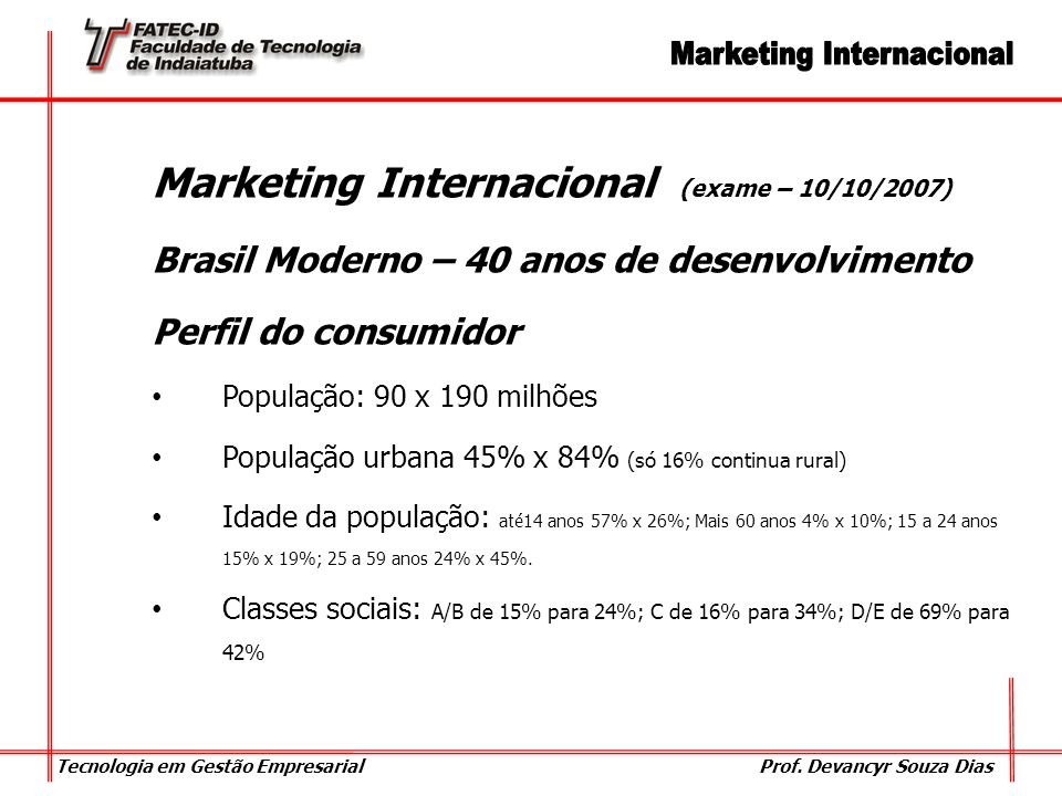 Marketing Internacional (exame – 10/10/2007)